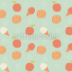 Ice Cream and Oranges Repeat Pattern