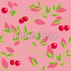 Cherry Branches Pink Vector Pattern