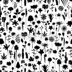 Many Flower Silhouettes Seamless Vector Pattern Design