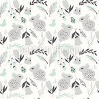 Bunnies and Flowers Seamless Vector Pattern Design