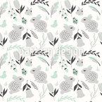 Hasen und Blumen Nahtloses Vektormuster