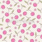 Polkadot And Cherries Seamless Vector Pattern Design