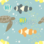 Greeting Fishes Seamless Vector Pattern Design