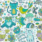 Doodle Animals Seamless Vector Pattern Design