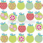 Reife Äpfel Nahtloses Vektormuster