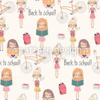 School Girls Seamless Vector Pattern Design