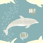 Shark and Dolphin Seamless Vector Pattern Design