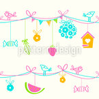 Summer Party in the Garden Seamless Vector Pattern Design