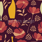 Poppies And Vases Mix Seamless Vector Pattern Design