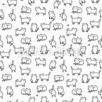 Sweet Kittys Seamless Vector Pattern Design