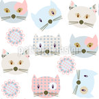 Cats Wearing Patchwork Seamless Vector Pattern