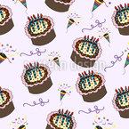 Party mit Kuchen Nahtloses Vektormuster