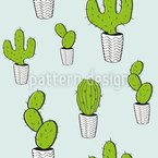 Potted Cacti Seamless Vector Pattern Design