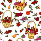 Summer Baskets Seamless Vector Pattern Design