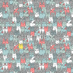 Cats Family Seamless Vector Pattern Design