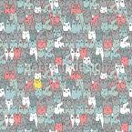 Katzen Familie Nahtloses Vektormuster