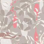 Vases and Branches Seamless Vector Pattern