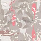 花瓶と枝 シームレスなベクトルパターン設計