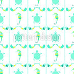Turtles and Seahorses Seamless Vector Pattern Design