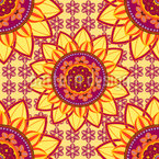 Mandala Flower Seamless Vector Pattern Design