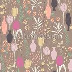 Frühlings Flora und Vasen Nahtloses Vektormuster