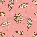 Summer Night Flowers And Leaves Seamless Vector Pattern Design