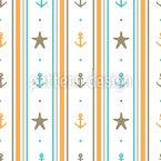 Anker und Seesterne Musterdesign
