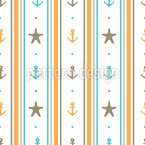 Sea Anchors and Starfishes Seamless Vector Pattern Design
