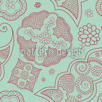 Floriental Blue Seamless Vector Pattern Design