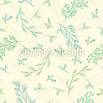 Hand Drawn Leaves and Branches Vector Pattern