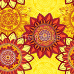 Mandala Flower Power Estampado Vectorial Sin Costura