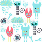 Techno Monsters Seamless Vector Pattern Design
