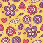 Groovy Blumen Nahtloses Vektormuster