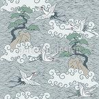 Kraniche Über Dem Ozean Vektor Design