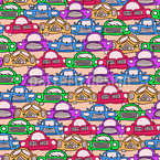 Traffic Jam Session Seamless Vector Pattern Design