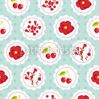 Grannys Cherry Garden Blue Seamless Vector Pattern Design