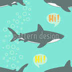 Hello Shark Seamless Vector Pattern Design