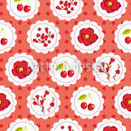 Grannys Cherry Garden Red Vector Ornament
