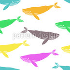Pop Art Whales Seamless Vector Pattern Design