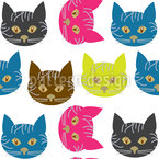 Pop-Art Cats Seamless Vector Pattern Design