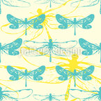Dragonfly Shadows Seamless Vector Pattern Design
