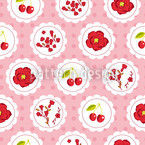 Grannys Cherry Garden Pink Seamless Vector Pattern Design