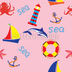 Day At The Seaside Seamless Vector Pattern Design