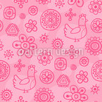 Dreaming Chicken Seamless Vector Pattern Design