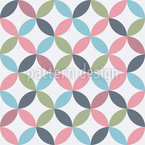 Retro Leaf Circles Seamless Vector Pattern Design