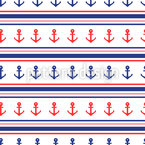 Anchors And Stripes Seamless Vector Pattern Design