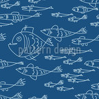 Sea World Mono Seamless Vector Pattern Design