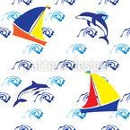 Jumping Dolphins Seamless Vector Pattern Design