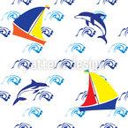 Springende Delfine Muster Design