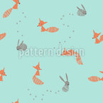 Funny Animals in the Forest Seamless Vector Pattern Design